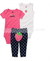 3pcs Carters Baby Girl set, Carters girls bodysuit, Carters baby infant rompers +baby pants, kids wear, infant outfit,