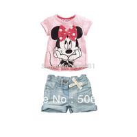 Baby Girls Minnie Clothing Sets Girl's Cartoon Suit Set Children's 2-Piece Set T-shirt+ Denim Short Casual Sets