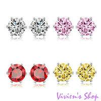 Free shipping Wholesale 12pairs/lot Simple style 7mm Zircon Earrings stud earrings for women AE011