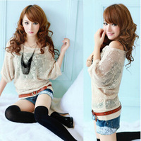 2014 Spring Women Korean Fashion Cute All-match Half Batwing Sleeve Hollow Out Loose Knitted Blouse Sweater Smock Pullovers/Tops