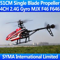 Original Box 51CM 4CH 2.4GHz Single Blade Screw MJX F46 Small F45 VS WL V912 V913 Gyro With Camera Remote Control RC Helicopter