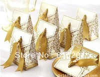 Wholesale-100pcs Ribbon Wedding Gifts Candy boxes Gold or Silver color For Wedding Party -Free Shipping