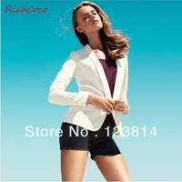 New 2013 Blazer Women Sexy Cute Shawl Collar Long Sleeve Slim Plus Sized Autumn -Summer Suits For Women Free Shipping D114