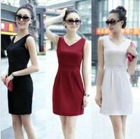 summer dress v-neck slim all-match one's morality joker fashion dress 7 colors free shipping