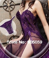 Sexy Lingerie Hot Erotic Ladies Robes Sexy Underwear Open Side Long Dress nightgown cloth G string Set ul179