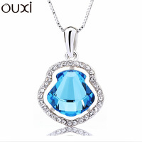 NLA061 Charm Round  Water Tube Pendant Necklace Made With Top Austrian Crystal Thick White Gold Plated Free Shipping