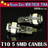 Free Shipping 10pcs/lot T10 Canbus W5W 194 5050 SMD 5 LED Error Free White Light Bulbs