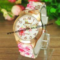100pcs/lot New Hot Fashion Silicone Printed Flower Wristwatch Casual Ceramics Style Watch Ladies Quartz Women Dress Watches