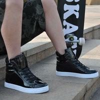 Free shipping Patent Leathe Skateboard  men's sneakers shoe Hip-hop shoes men sports shoe Casual shoes