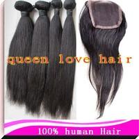 Unprocessed Peruvian Virgin Hair and Lace Closure natural color Natural Straight 3pcs/lot DHL free shipping