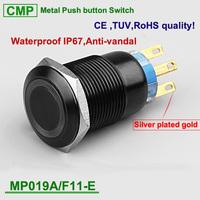 Factory supply customization 19mm black  gold colors housing metal led illuminated waterproof push button switch , TUV CE  IP67
