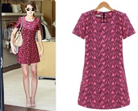2013 Women's Chiffon Novelty Dress Knee-Length Plaid dress Short Sleeve New fashion dresses Alibaba express
