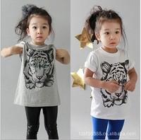 2014 New Arrival Children T-shirts Cartoon Animal Clothing Girls Boys Tiger Print T shirts Short Sleeve T Shirts Summer Wear 896