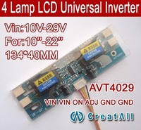 "Free shipping 20PCS AVT4029 PC LCD MONITOR CCFL 4 LAMP universal lcd inverter board,4 Lamp 10V-29V For 10-22"" screen"