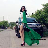 Free Shipping 2014 New Women Flare Sleeve Maxi Dress Chiffon Floral Floor Length Beach Sun Shawl Cardigan Dress 6 Colors(S-XXL)