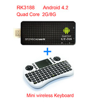 2013 New MK809 III Rockchip RK3188 Quad Core MK809III TV Stick 2GB RAM 8GB ROM+ UKB500RF Wireless Keyboard