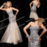 Hottest !2013 Brilliant Tony Bowls champagne Evening Dress Luxury crystal Sequins Prom Dress Party Dresses