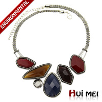 Free Shipping Min Mix Order $10 New Arrival Women Classic Anti-Silver Plated Laser Resin Loucite Stone Choker Necklace Jewelry