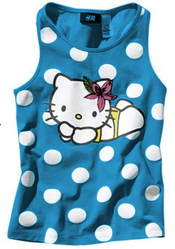 NEW 2013 children (5sets/1lot)girls fashion  clothing100% cotton vest+pants hello kitty clothes Free shipping