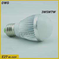 owg (5pieces/lot)3W4W5W7w led bulb light E27 led lights 220V Warm/white led light blub lamp Energy saving lamp Free Shipping