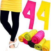Alta calidad ! 2014 de primavera y otoño de los niños de las polainas de colores candy girls niños estiran bebé ocasional pantalones de algodón para 3-12Y(China (Mainland))
