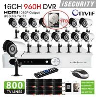 16pcs 800TVL with IR CUT outdoor camera IR Weatherproof video Surveillance cctv security camera system 1tb hdd+Free shpping!
