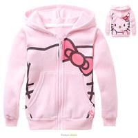 2015 New Arrive casual long sleeve zipper Hoodie Girls Sweatshirts Moleton infantil Children Sweater Hello Kitty Girls Hoodies