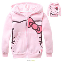 Free Shipping Retail New 2013 Autumn Pink Hello Kitty Children hoodies Girls hoodies sweatshirts Girls coat for 90-140cm