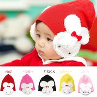 1pc Cheap 2014 Winter Baby Warmer Cap Cartoon Rabbit Cotton Infant Toddler Children Winter Hats Skullies Beanies Caps 5 Colors