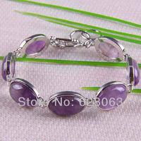Amethyst Beads Bracelet Bangle Jewelry 8 Inch Free shipping G065