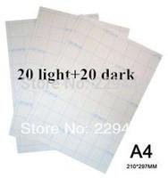 A4 Paper 40pcs=20pcs Light+20pcs Dark Inkjet Thermal Transfer Printing Paper Heat Transfers With Heat Press For T shirt Free