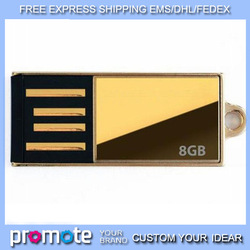 [ wholesale free express shipping ] mini water proof gold usb flash drives + free packing+logo engrave + gift(China (Mainland))