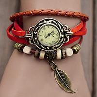 2014 New Fashion womens Leather Bracelet Watch Hand Knit Vintage Wrist Watch Bracelet Wristwatches Pendant for Gift 18184