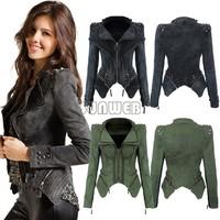 New Hot 2014 women Denim jacket Outwear Punk spike studded shrug shoulder cropped VINTAGE Blazer winter short coat S-XL b4