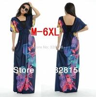 Promotion! Women V-Neck Floral Printing Casual Maxi/Long Beach Women Dress Plus Size dresses M-6XL Free Shipping