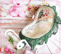 Free shipping!!Love house hand made plastic trolley basket in lovely green lace,movable basket,bassinet design