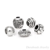 Free Shipping 50PCs Mixed Antique Silver  Acrylic Beads  Spacers Beads Fit European Charm  (B03266)