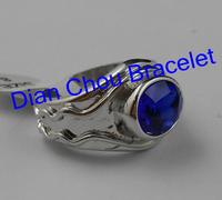 Freeshipping  20pc a lot The Hobbit ring Lord of the Rings Legolas Vilya Ring Of Air Blue Zircon retro elegant Rings XF012