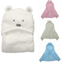 MINizone 2013 Free shipping newborn baby kids coral velvet swaddling blanket toddler cartoon bear sleeping bag autumn and winter
