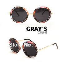 FREE SHIPPING 2013 New Arrival Men Women Round Vintage Steampunk  Mirror Sunglasses Holiday Sunglasses 5 Colors 100% UV Glasses