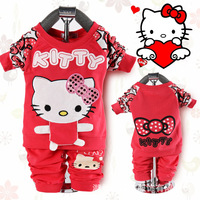 free shipping  wholesale 2014 spring and autumn hello kitty children's clothing set fall Korean sport set suit 3pcs a lot