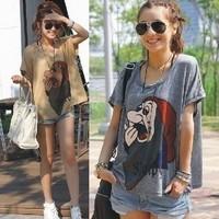 free shipping cartoon dwarf pattern casual blouse loose short-sleeve t shirt women hot selling