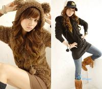 2014 Sweet Cute Bear Ears Elastic Hot Tops Fashion Clothing Autumn New Lovely Sweatshirts Lint Women Fleece Hooded Jacket
