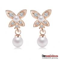 LZESHINE Brand Bridal Shell Pearl Earrings Austrian Crystal SWA Element Pearl Flower Stud Earring Wedding Earing ER0183-A