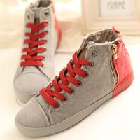 Women's newest casual canvas shoes women footwear lady's hig-log side zipper water wash denim color block  sneakers shoes
