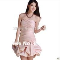 2013 Bridesmaid Dress Off Shoulder Strapless Princess Bow Ruffle Part Evenin Bridemaid Weddin Dress Ball Gown  9 Colors XS XXL