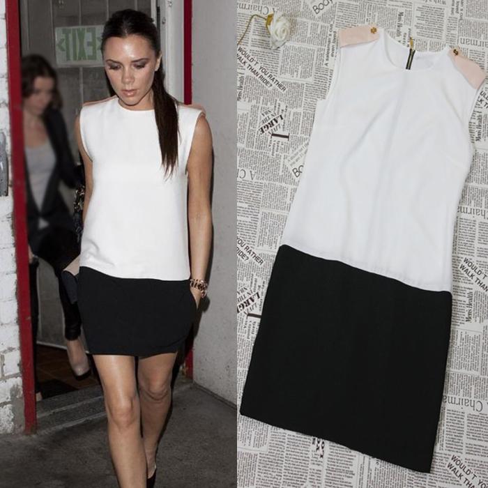 2014 Victoria Beckham Star Style Ladies' Fashion Patchwork Slim Mini Dress Womens' Summer Chiffon Dress LCW1081(China (Mainland))