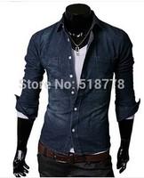Mens Casual-Shirt Casual Dress Shirts Polo Denim Shirt Slim Fit Brand Camisa Camisetas Masculinas Jeans Suit Man Spring 2014
