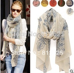 Free Shipping !2014! Temperament Excellent, Blue and White Porcelain Style Thin Section the Silk Floss Women Scarf Shawl.