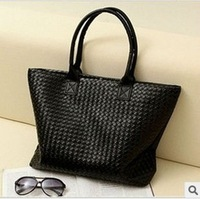 Hot Selling Women PU Leather Handbag,Tote Shoulder Bags, large capacity PU weave bags M0902